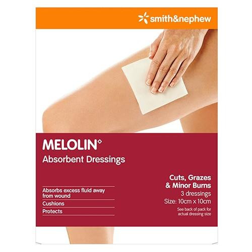 Melolin Absorbent Dressings 10cm x 10cm 3 Pack Smith and Nephew SuperPharmacyPlus