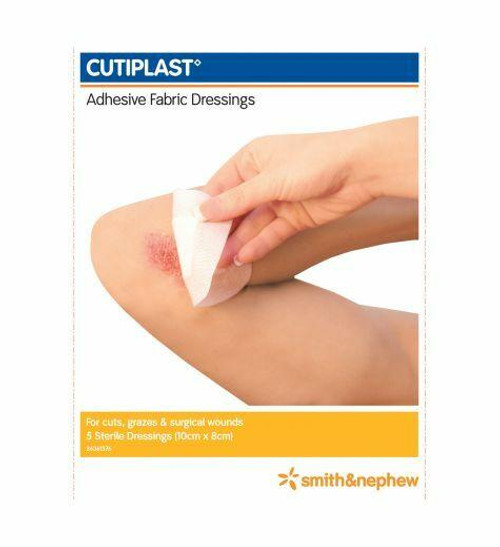 Cutiplast Conformable Fabric Dressing Strips 10cm x 8cm 5 Pack Smith and Nephew SuperPharmacyPlus