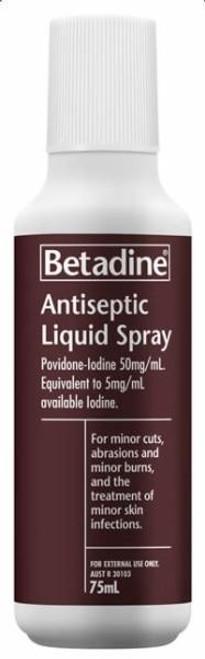 Betadine Antiseptic Liquid Spray 75mL Betadine SuperPharmacyPlus