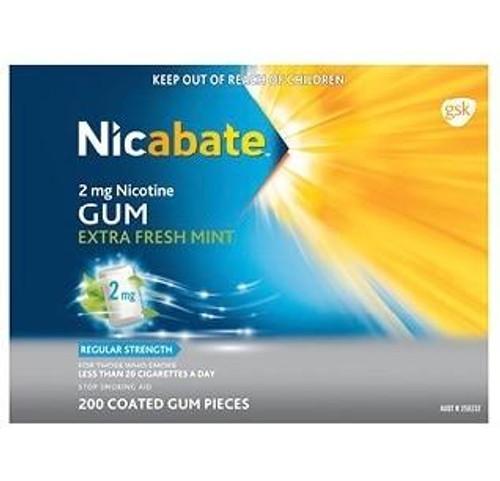 Nicabate 2mg Nicotine Gum Extra Fresh Mint 200 Coated Gum Pieces Nicabate SuperPharmacyPlus