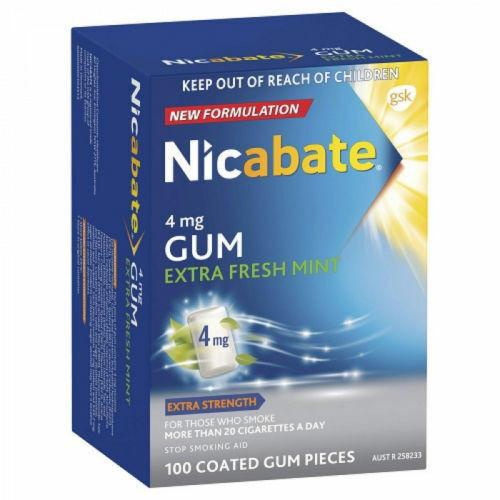 Nicabate 4mg Nicotine Gum Extra Fresh Mint 100 Coated Gum Pieces Nicabate SuperPharmacyPlus