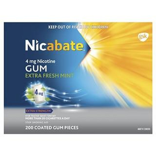 Nicabate 4mg Nicotine Gum Extra Fresh Mint 200 Coated Gum Pieces Nicabate SuperPharmacyPlus