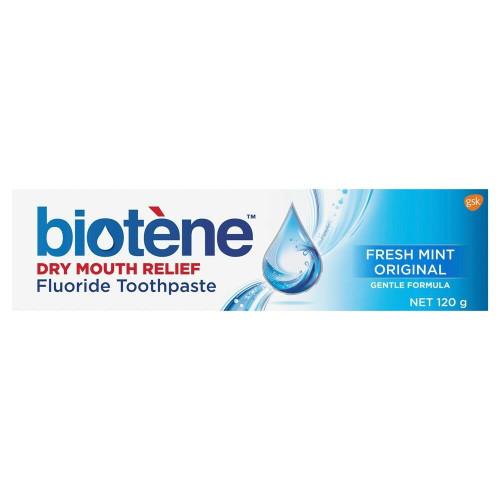 Biotene Dry Mouth Fluoride Toothpaste or Fresh Mint or 120g Biotene SuperPharmacyPlus