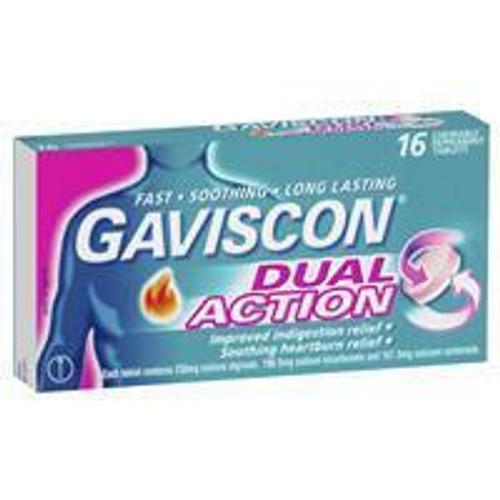 Gaviscon Dual Action Tablets Chewable Peppermint 16 Pack Gaviscon SuperPharmacyPlus