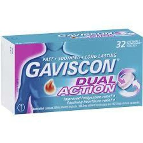 Gaviscon Dual Action Tablets Chewable Peppermint 32 Pack Gaviscon SuperPharmacyPlus