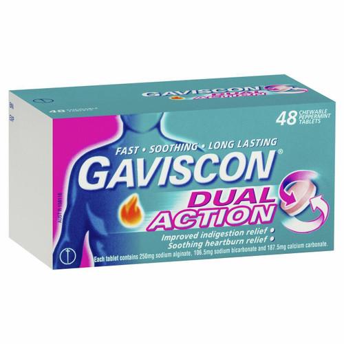 Gaviscon Dual Action Tablets Chewable Peppermint 48 Pack Gaviscon SuperPharmacyPlus