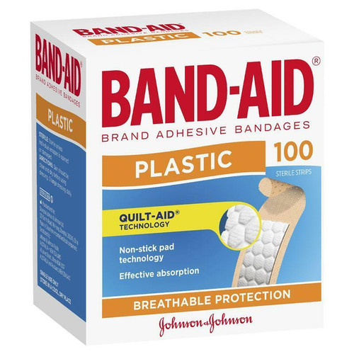 Band-Aid Plastic Strips 100 Pack Johnson and Johnson Medical Pty Ltd SuperPharmacyPlus