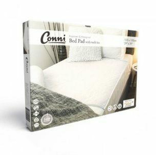 Conni Bed Pad With Tuck-ins White 100cm x 100cm Conni SuperPharmacyPlus