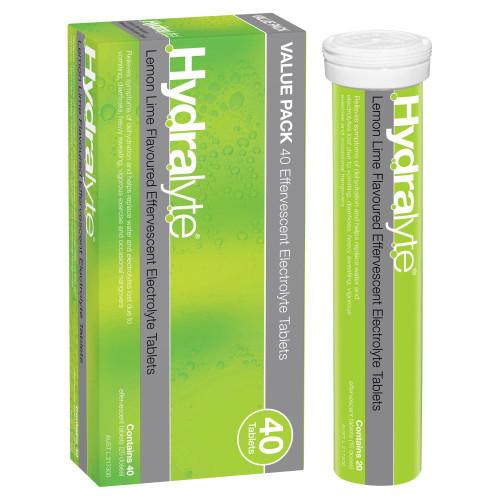 Hydralyte Effervescent Electrolyte Lemon Lime 40 Tablets Hydralyte SuperPharmacyPlus