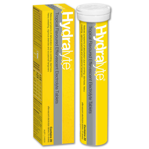 Hydralyte Effervescent Tropical 20 Tablets Hydralyte SuperPharmacyPlus