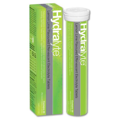 Hydralyte Effervescent Electrolyte Lemon Lime 20 Tablets Hydralyte SuperPharmacyPlus