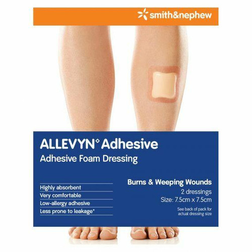 Allevyn Classic Adhesive 7.5cm X 7.5cm Dressing 2 Pack Smith and Nephew SuperPharmacyPlus