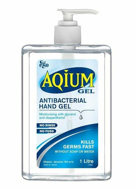 Ego Aqium Antibacterial Hand Sanitiser 1L Pump Pack Ego Pharmaceuticals SuperPharmacyPlus