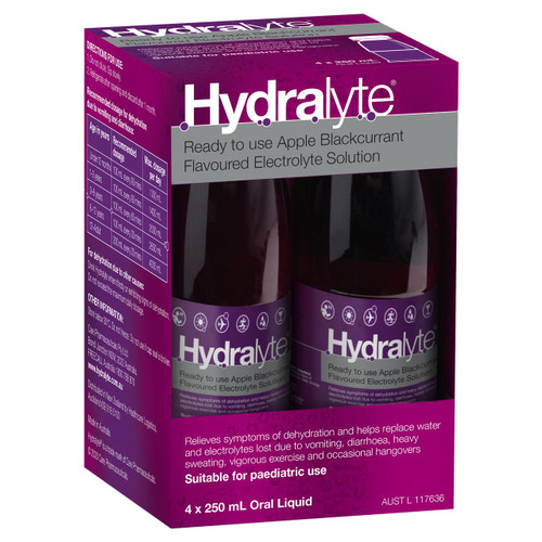 Hydralyte Electrolyte Solution or Apple Blackcurrant or 250mL 4 Pack Hydralyte SuperPharmacyPlus