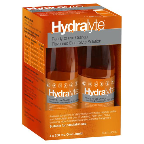 Hydralyte Electrolyte Solution or Orange or 250mL 4 Pack Hydralyte SuperPharmacyPlus