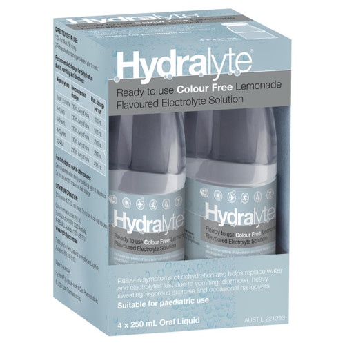 Hydralyte Electrolyte Solution or Colour Free Lemonade or 250mL 4 Pack Hydralyte SuperPharmacyPlus