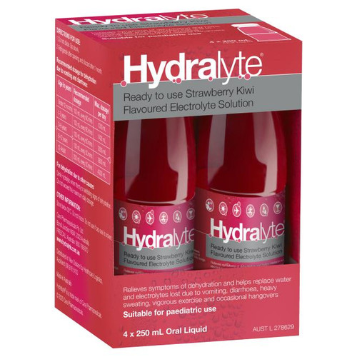 Hydralyte Electrolyte Solution or Strawberry Kiwi or 250mL 4 Pack Hydralyte SuperPharmacyPlus