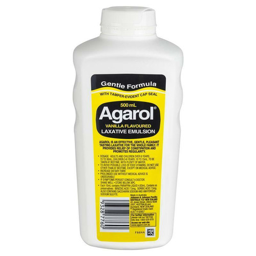 Agarol Vanilla Laxative Liquid 500mL Johnson and Johnson Medical Pty Ltd SuperPharmacyPlus