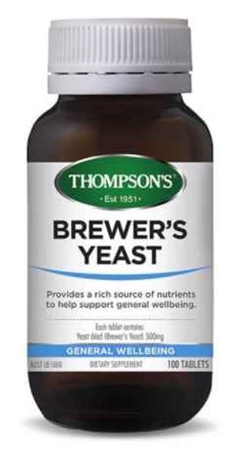 Thompsons Brewers Yeast 500mg 100 Tab Thompson SuperPharmacyPlus