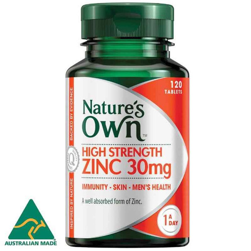 Natures Own High Strength Zinc 30mg 120 Tablets Natures Own SuperPharmacyPlus