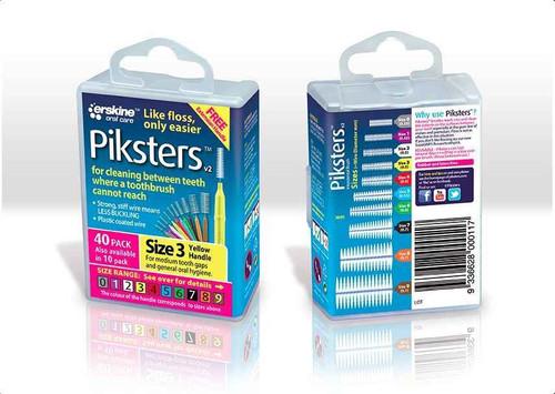 Piksters Interdental Brush Size 3 Yellow - 40 Pack Erskine Dental SuperPharmacyPlus