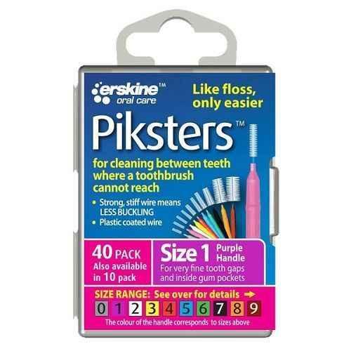 Piksters Interdental Brush Size 1 Purple - 40 Pack Erskine Dental SuperPharmacyPlus
