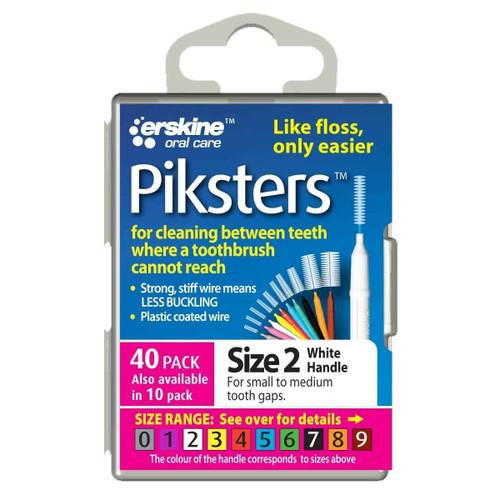 Piksters Interdental Brush Size 2 White - 40 Pack Erskine Dental SuperPharmacyPlus