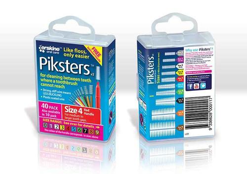 Piksters Interdental Brush Size 4 Red - 40 Pack Erskine Dental SuperPharmacyPlus