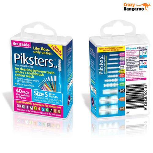 Piksters Interdental Brush Size 5 Blue - 40 Pack Erskine Dental SuperPharmacyPlus