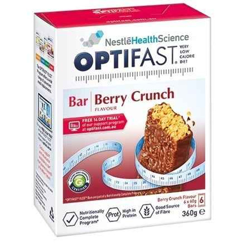Optifast VLCD Berry Crunch Bars 60g x 6 Pack Nestle Health Science SuperPharmacyPlus