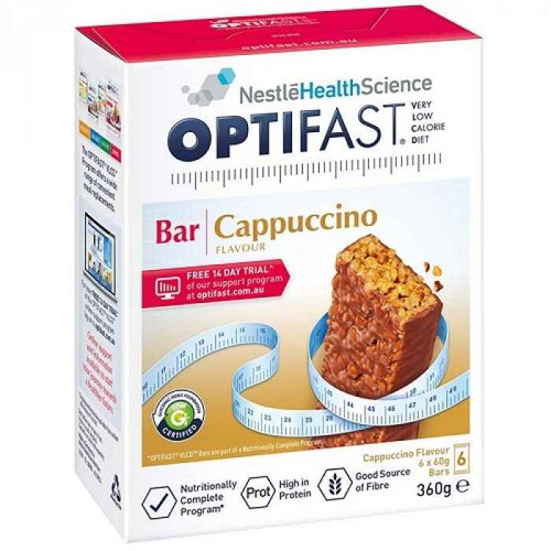 Optifast VLCD Cappuccino Bars 60g x 6 Pack Nestle Health Science SuperPharmacyPlus