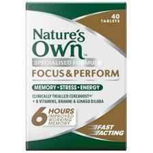 Natures Own Focus and Perform 40 Tablets Natures Own SuperPharmacyPlus