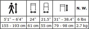 Hugo Walking Frame specifications