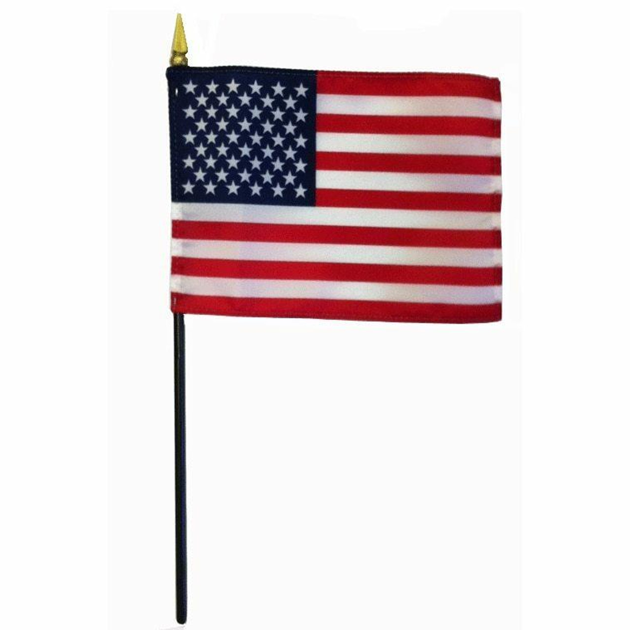 Silky polyester American stick flag. The U.S. Stick flag features 13 alternating red and white horizontal stripes with a blue rectangle and 50 white stars in the upper left-hand corner. The flag is mounted on a black staff, and a gold spear sits at the top.