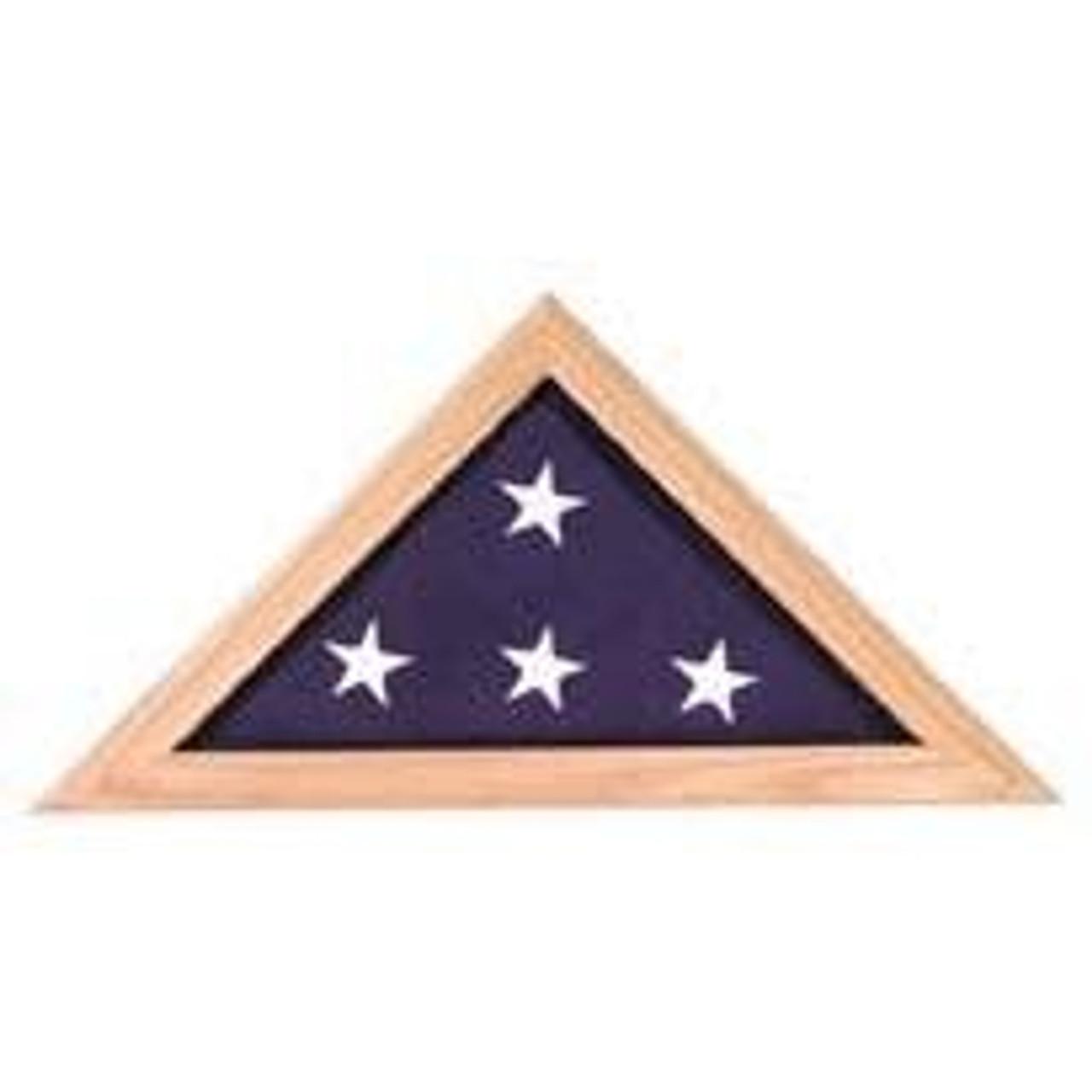 Oak finish flag case with folded American flag inside