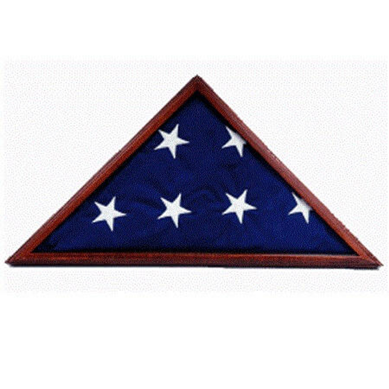 Cherry Finish Flag Case with folded American flag inside