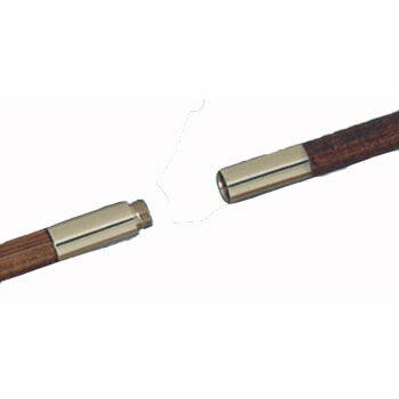 Two-piece oak pole with metal screw joints