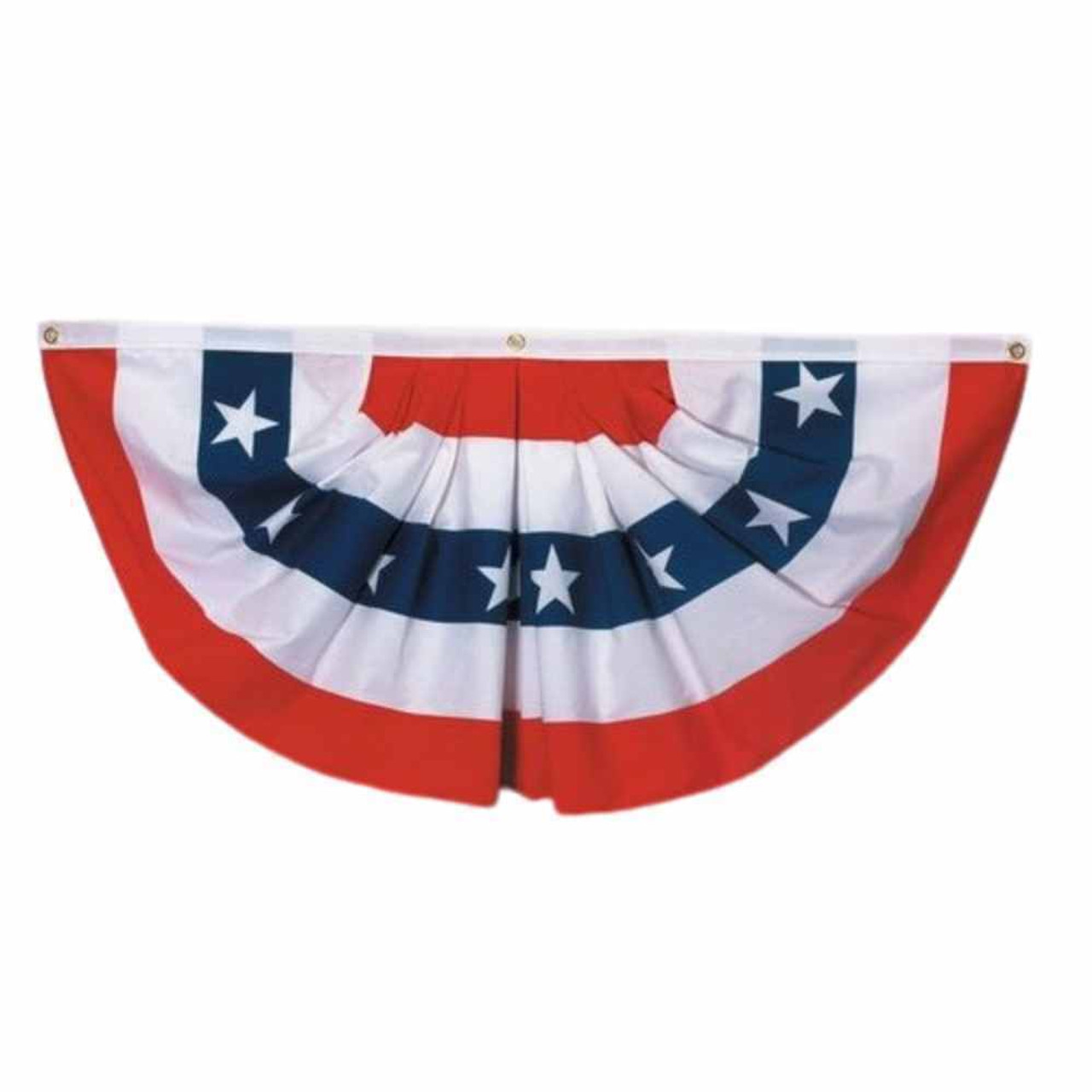 This semi-circular fan flag features five alternating stripes of red and white, with a center stripe in blue with white stars. Ruffled pleats give it a decorative flair.