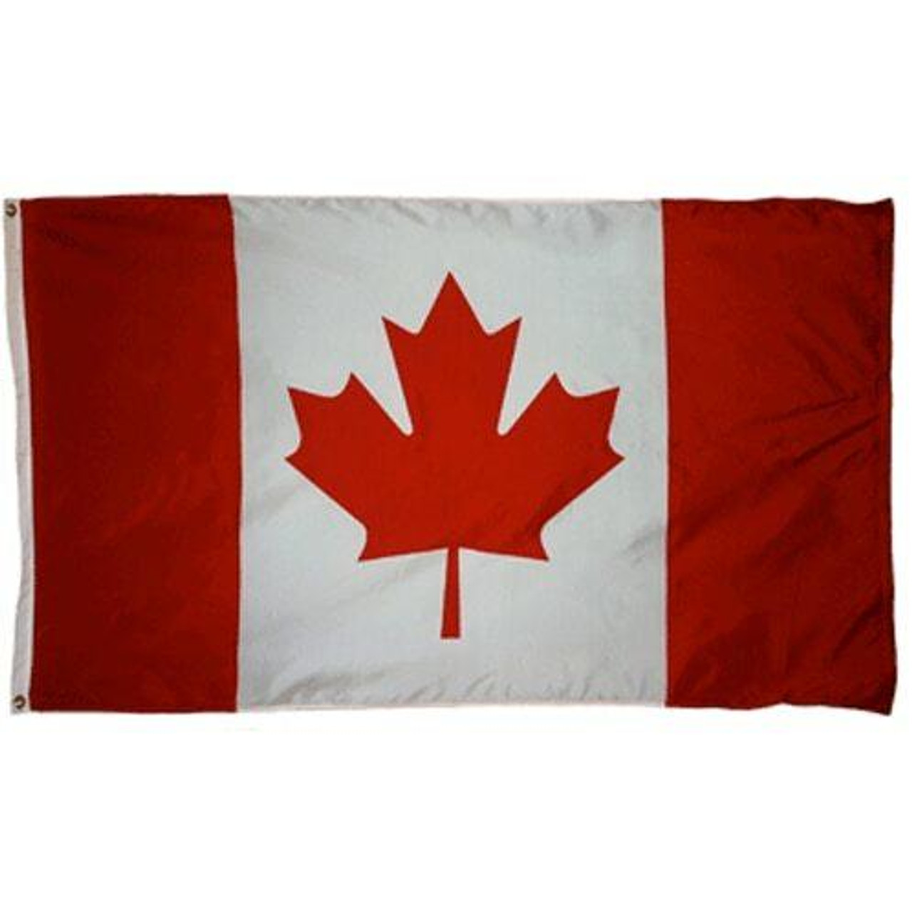 The flag of Canada features a background with a large white field with red stripes on either side with an iconic 11-pointed red maple leaf in its center. Brass grommets are on the mounting side for easy and durable hanging.