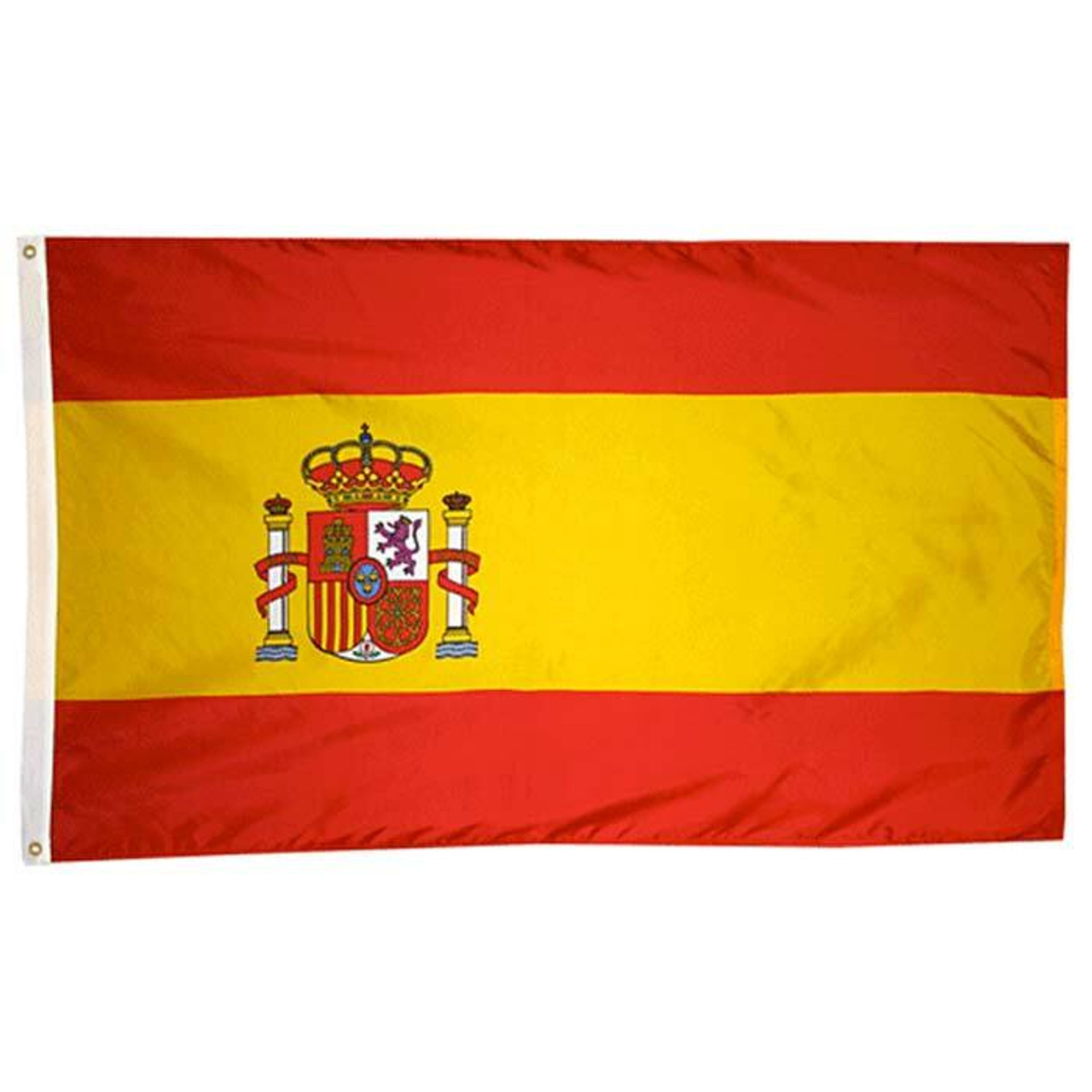 """The Spain flag, a tricolor rectangular flag consists of two smaller red stripes at the top and bottom with a yellow stripe that is twice the width of the red. Closer to the white canvas header with brass grommets, on the left-hand side, and in the middle of the yellow stripe, you will find the coat of arms of Spain. The coat of arms has a gold and red crown above the blazon. The blazon is separated into four parts. Each part represents the medieval kingdoms that came together to form the Spanish monarchy. On either side of the blazon, are the Pillars of Hercules with crowns on top of them. The motto """"Plus Ultra"""" can be found on red banners that wrap around the pillars. On the flag's left side (the hoisting side) are a canvas header and brass grommets for easy attachment to flagpoles."""