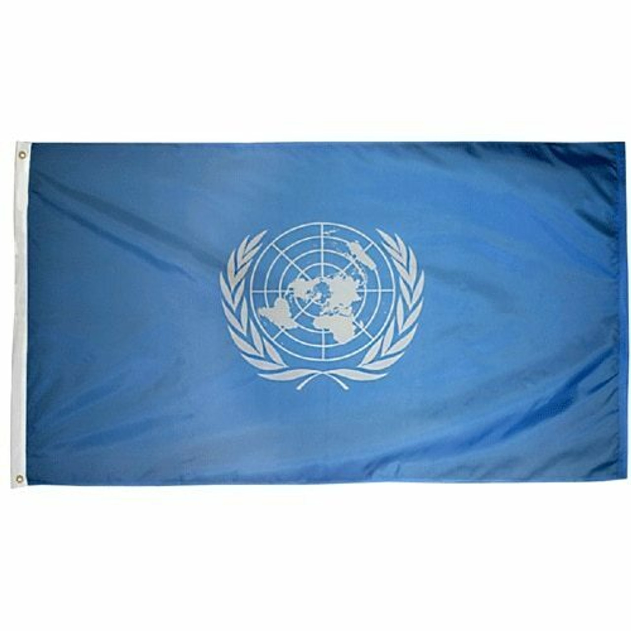 The UN Flag features a light blue background with a white global map in its center. The map is circular and is stylized to show a world view from the north pole, with each of the world's continents visible. On the left and right of the map are white olive branches, which meet in the middle below the map.