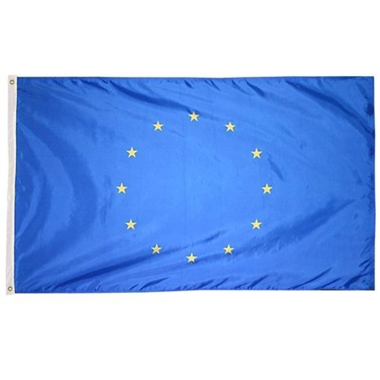 European Union Flag has a blue field with 12 yellow stars forming a circle at the center.
