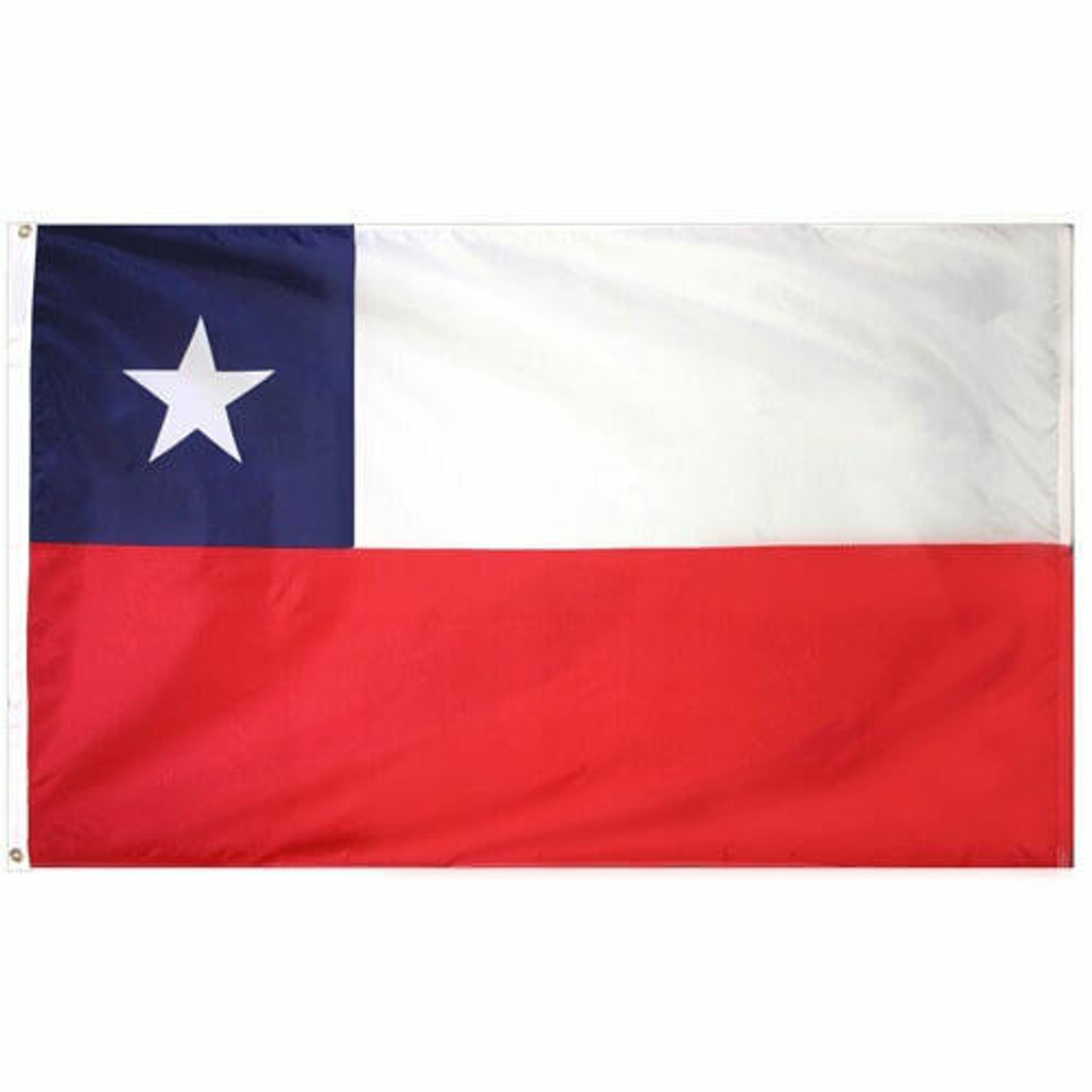 The Chile Flag has two horizontal bands of white and red, with a blue square the same height as the white band in the canton, with a white five point star