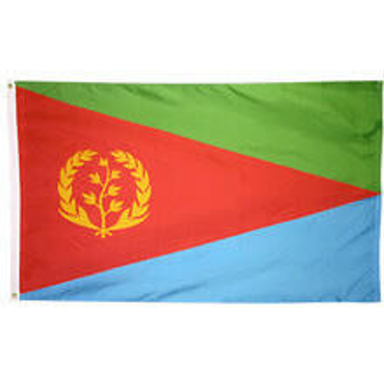 An Eritrea Flag made of nylon with lock stitching, polyester canvas heading, and brass grommets. Design is three green, red, and blue triangles, the middle red pointed towards the fly side with a gold wreath emblem.