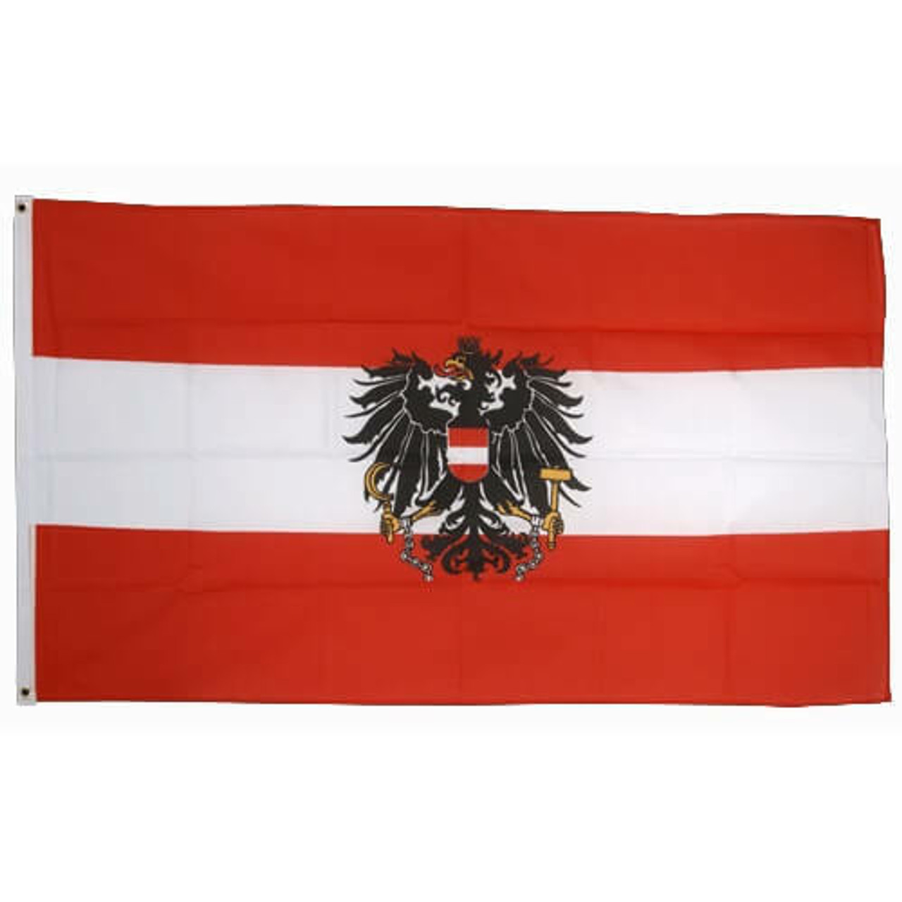 Austria with Eagle Flag. Red top and bottom stripe with white middle stripe. Eagle at center.