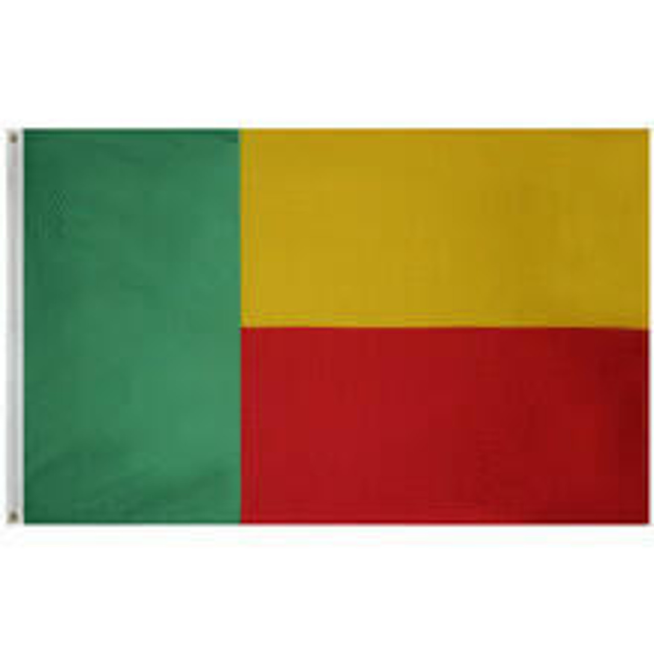 Benin Flag with canvas heading and grommets for attachment. Left 1/3 of the flag is green, the other half gold/red with the gold section in the top half.