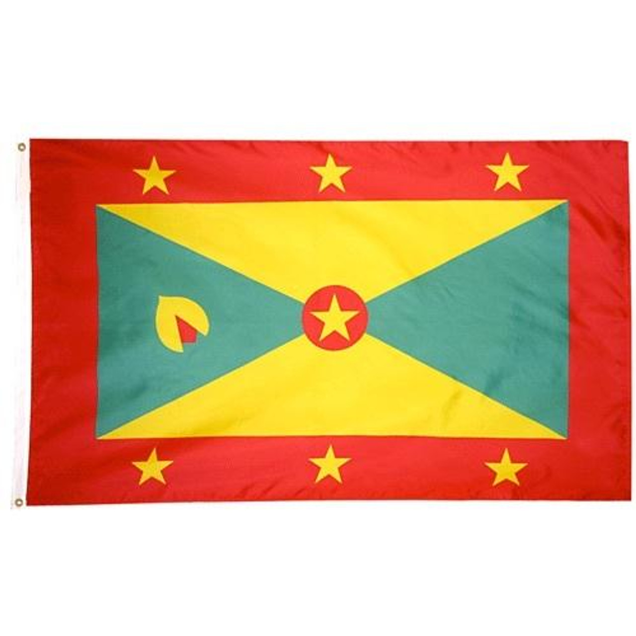 The Grenada flag consists red border with three yellow stars on top and bottom. Two yellow triangles on top and bottom, two green triangles on left and right inside border, and red circle with yellow star at center.