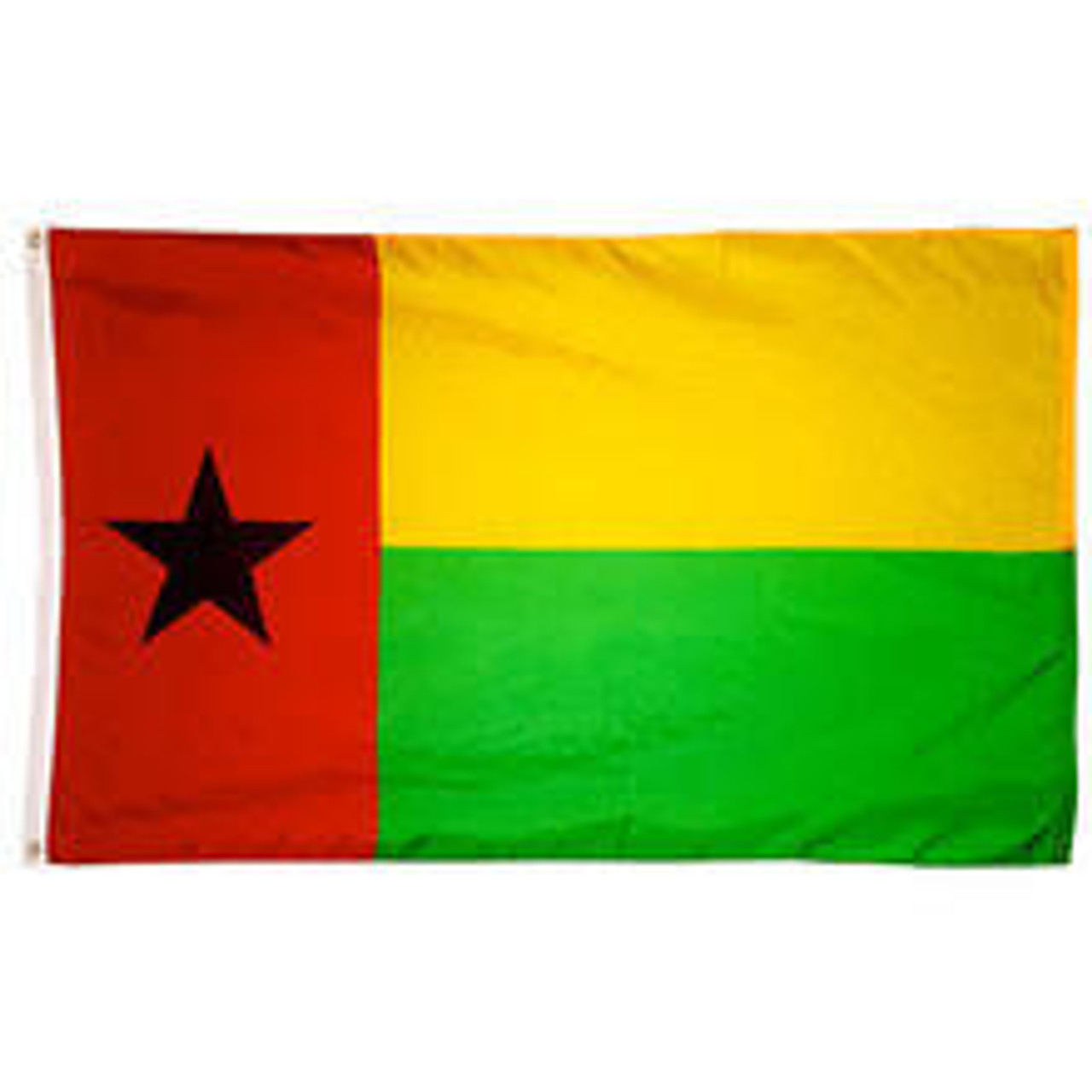 A Guinea-Bissau Flag made of nylon with lock stitching, polyester canvas heading, and brass grommets. Design is a red vertical rectangle taking up the left third with a black star emblem in the middle and two horizontal yellow and green rectangles taking up the rest.