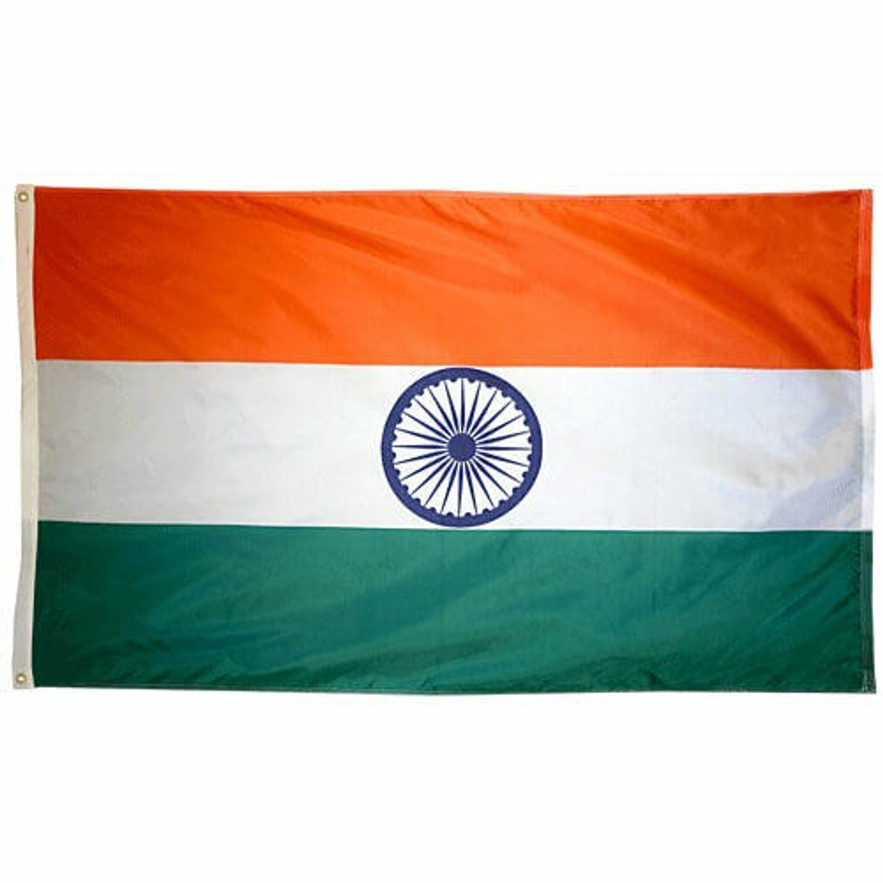 Nylon flag of India, with three horizontal stripes. The top third is orange, the middle white, and the bottom green. In the middle, in the white stripe, there is a 24 spoke wheel in navy blue. Along one end of the flag is a canvas header with brass grommets for attaching the flag to a flagpole with snaps or hooks.