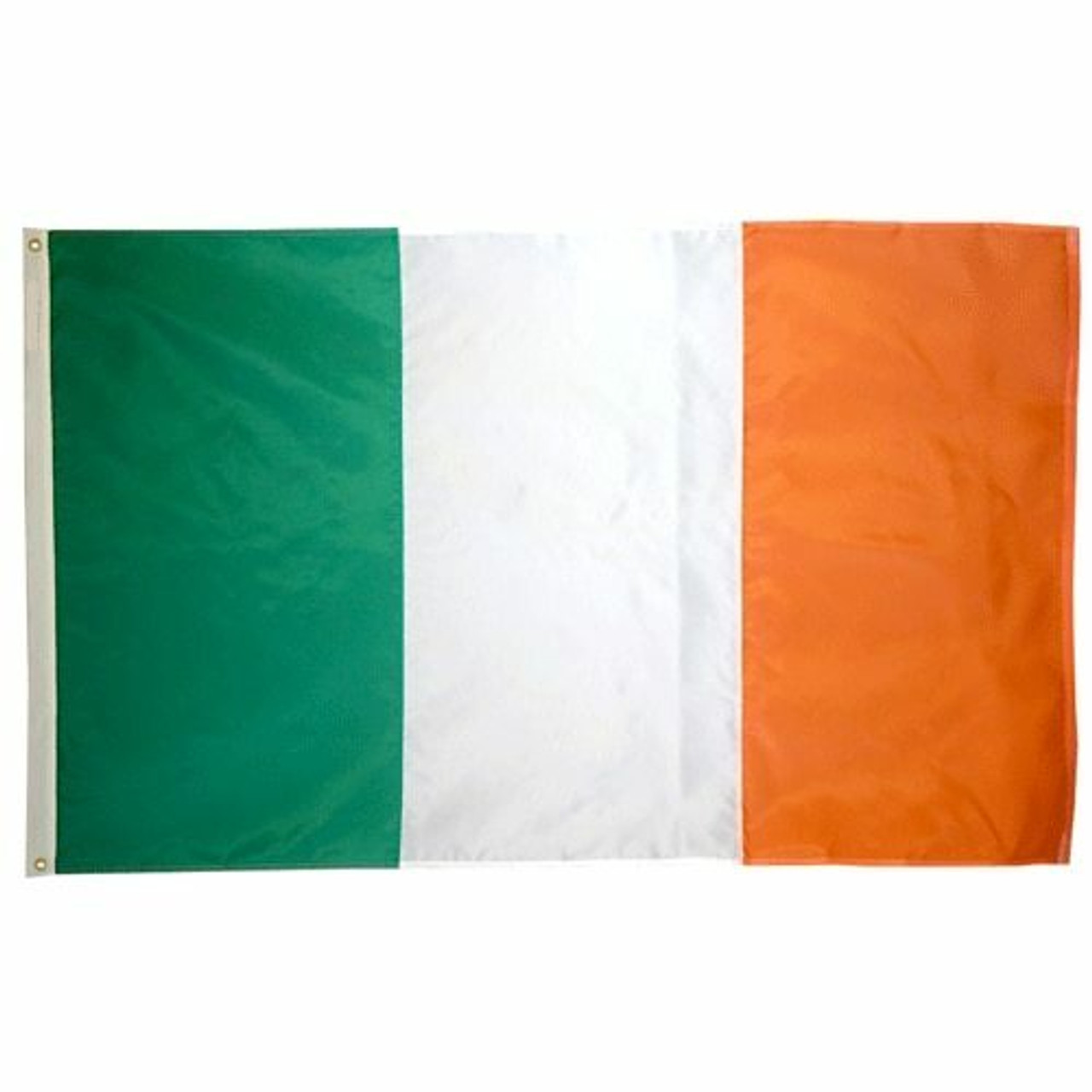 The flag of Ireland, also known as the Irish tricolor, is a simple flag consisting of a green vertical panel, a white panel in the center, and an orange vertical panel on the right side. The flag gets its design from the original tricolor panels of the French revolution, and symbolizes the unification between Irish Roman Catholics and Irish Protestants.